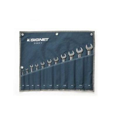 """סט מפתחות רינג פתוח 11 יח' בנרתיק / אינץ' """"1/4-7/8 Signet"""