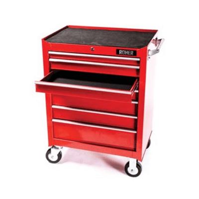 עגלת כלים מקצועית 7 מגירות, צבע אדום ROHER PRO