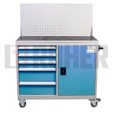 עגלת כלים מקצועית משולבת 5 מגירות + ארון צבע אפור חזית מגירות בכחול ROHER PRO