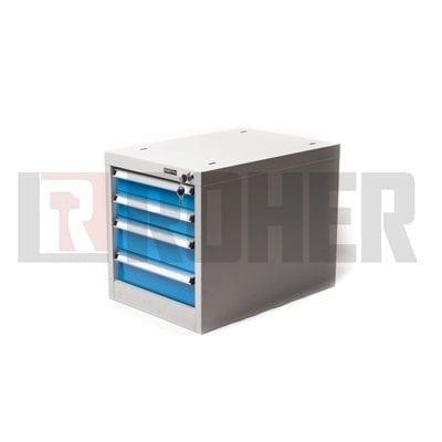 יחידת 4 מגירות לשולחן עבודה אפור/כחול ROHER PRO