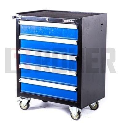 """עגלת כלים מקצועית 5 מגירות כחול/שחור 69X46.5X91 ס""""מ ROHER PRO"""