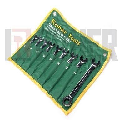 """סט 9 מפתחות רינג רצ'ט-פתוח 10-19 מ""""מ ROHER-TOOLS"""