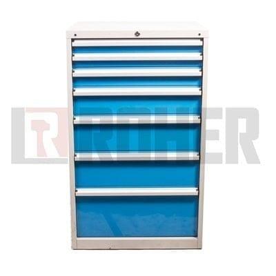 יחידת אחסון מקצועית 7 מגירות מעמס כבד אפור – כחול ROHER PRO