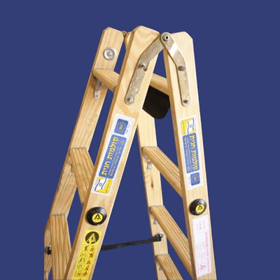 סולם עץ רב מקצועי שלבים רחבים – תו תקן סולמות חגית