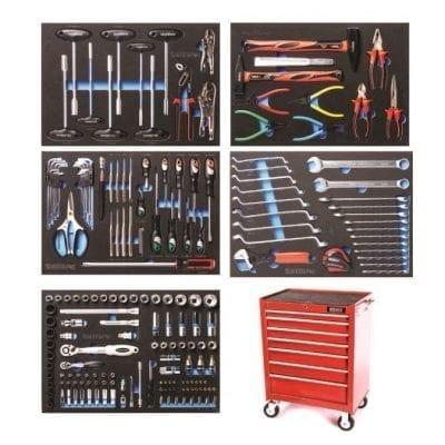 עגלת כלים מקצועית 7 מגירות  ROHER-TOOLS אדומה מזוודת 198 חלקים