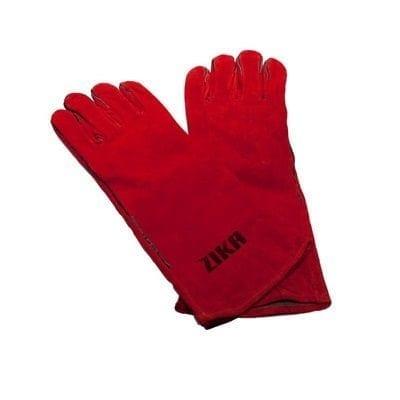 """כפפות עור לריתוך 40 ס""""מ בצבע אדום ZIKA"""