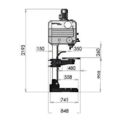 """מקדחת עמוד 45 מ""""מ עם גיר OPTIMUM DH45G"""