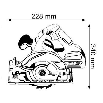 מסור עגול נטען  BOSCH 6.5″ GKS 18V-LI