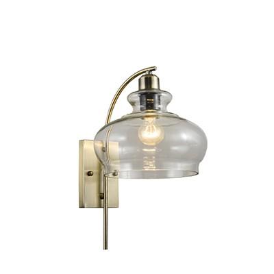 מנורת קיר לורן E27 בראס+זכוכית שקופה SEMICOM