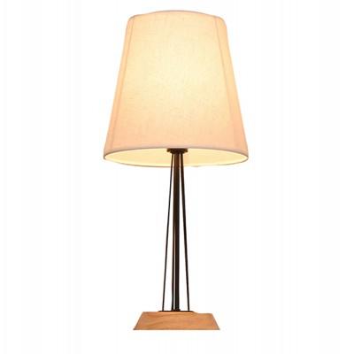 מנורת שולחן פורסט E27 שחור+עץ SEMICOM