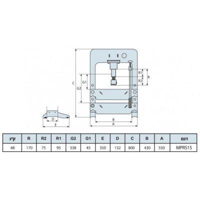 מכבש 15 טון נמוך הידראולי תוצרת ספרד – MEGA MPRS15
