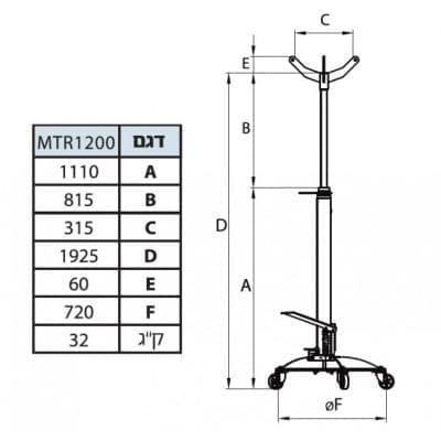 """ג'ק גיר 1200 ק""""ג תוצרת ספרד – MEGA MTR1200"""